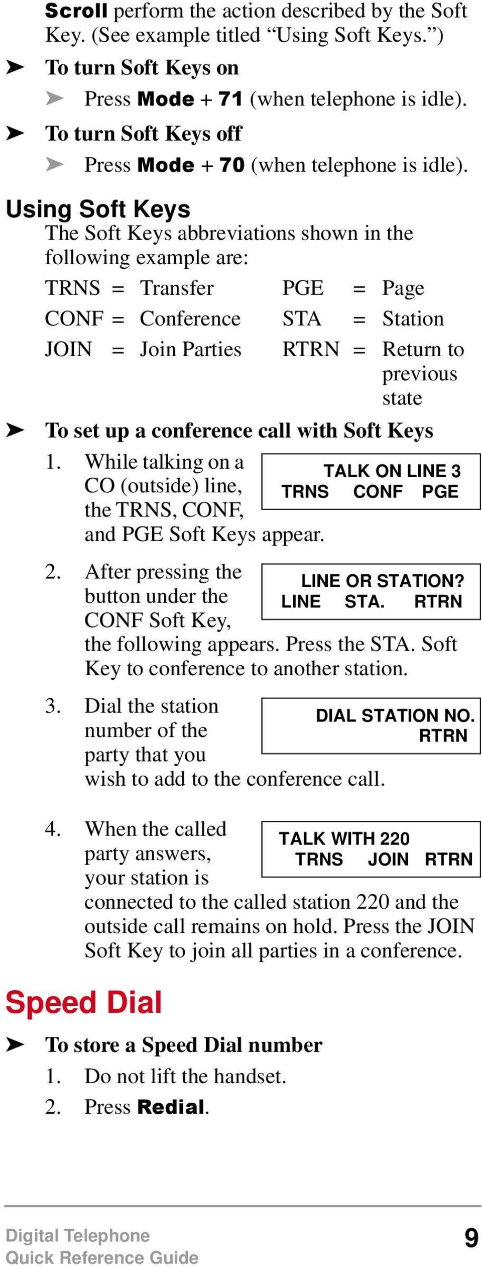 Using Soft Keys The Soft Keys abbreviations shown in the following example are: TRNS = Transfer PGE = Page CONF = Conference STA = Station JOIN = Join Parties RTRN = Return to previous state To set