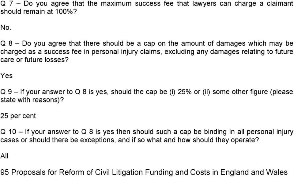 future care or future losses? Q 9 If your answer to Q 8 is yes, should the cap be (i) 25% or (ii) some other figure (please state with reasons)?