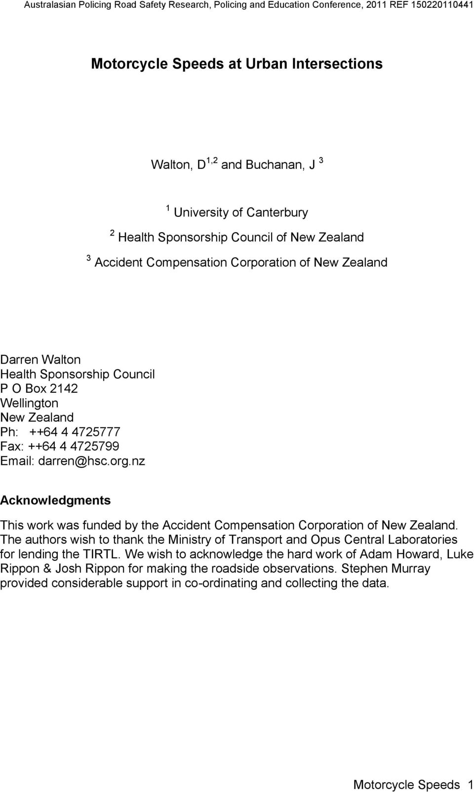 nz Acknowledgments This work was funded by the Accident Compensation Corporation of New Zealand.