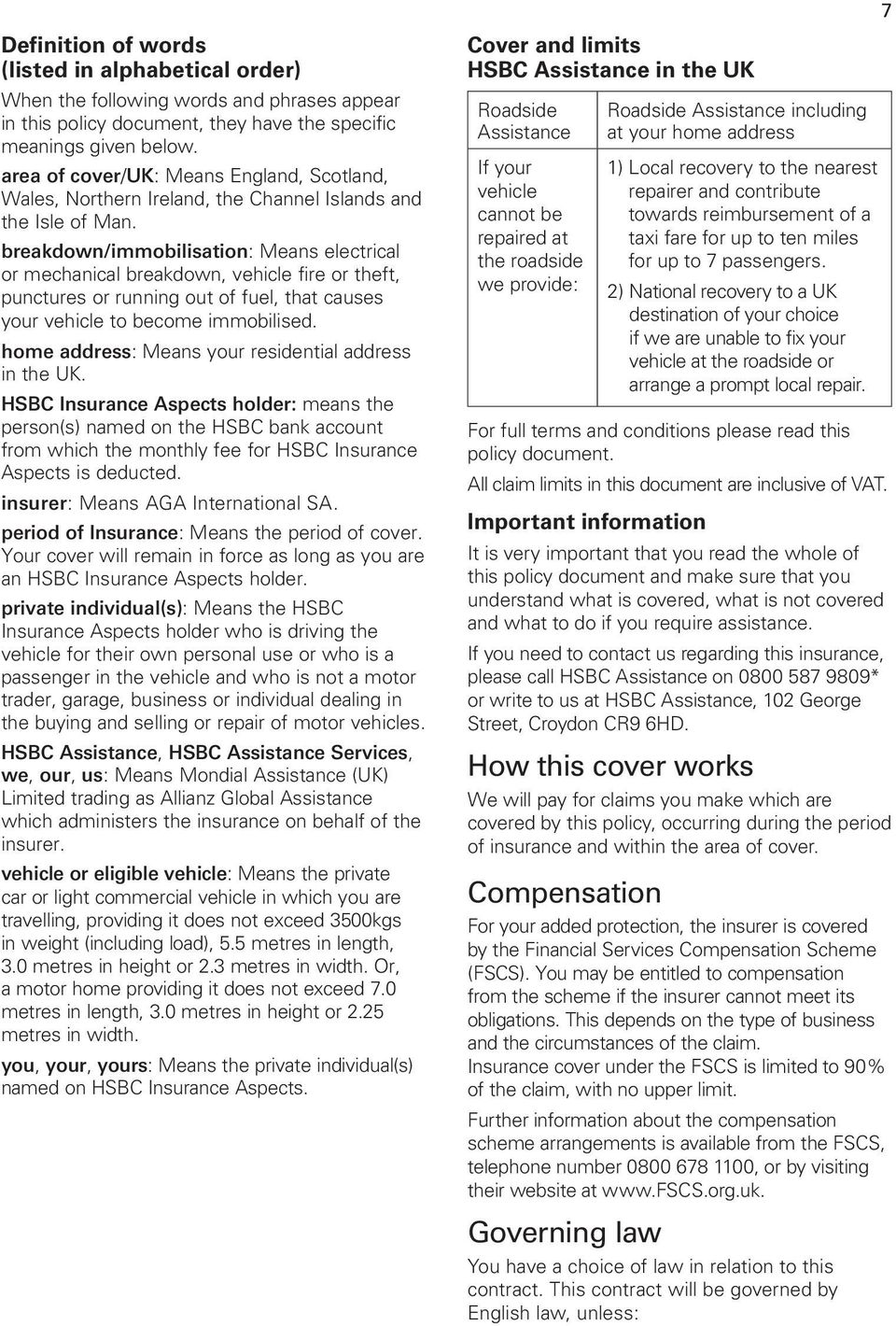 HSBC Insurance Aspects: Motor Breakdown Assistance - PDF