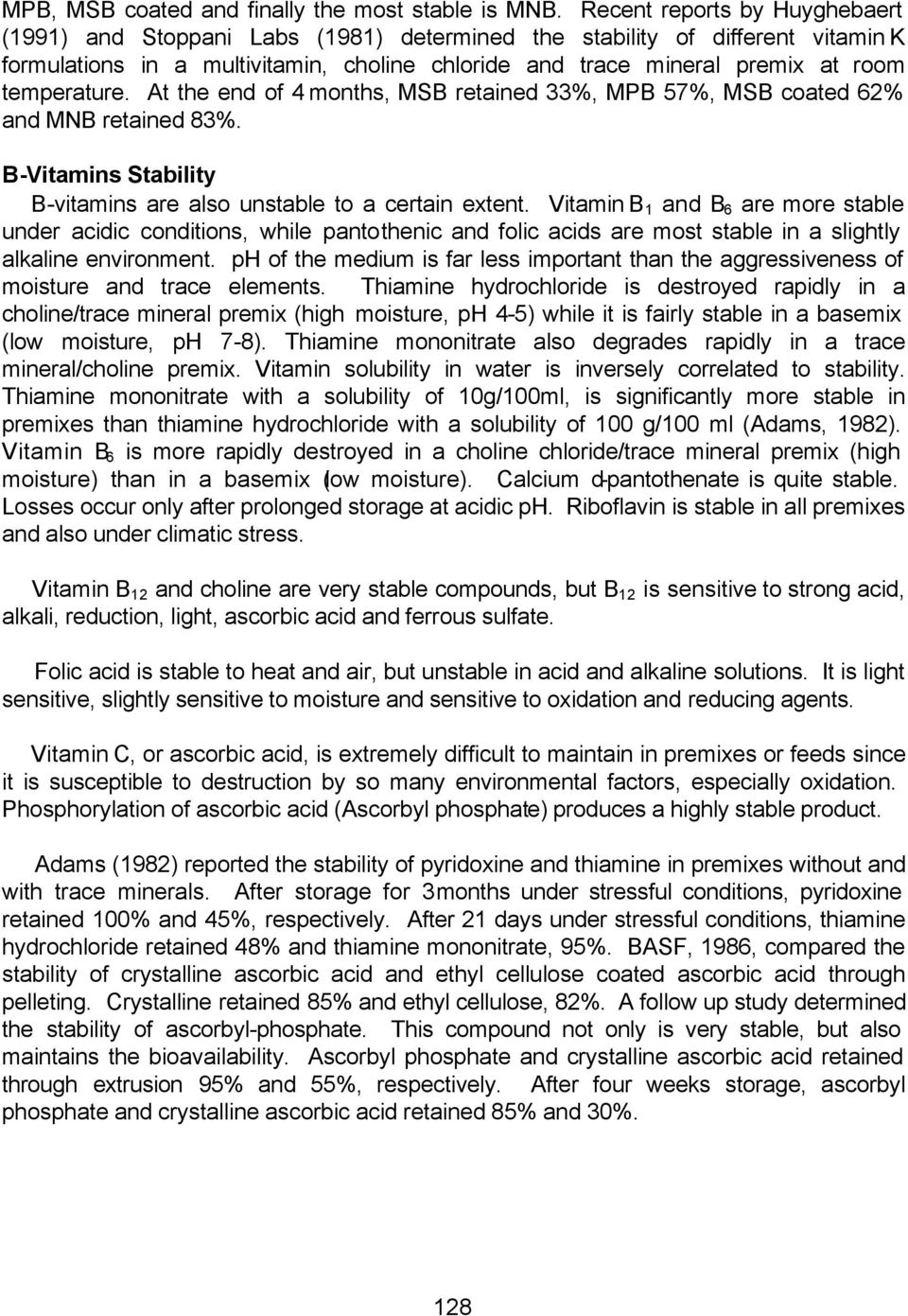 Vitamin Stability in Premixes and Feeds A Practical Approach in