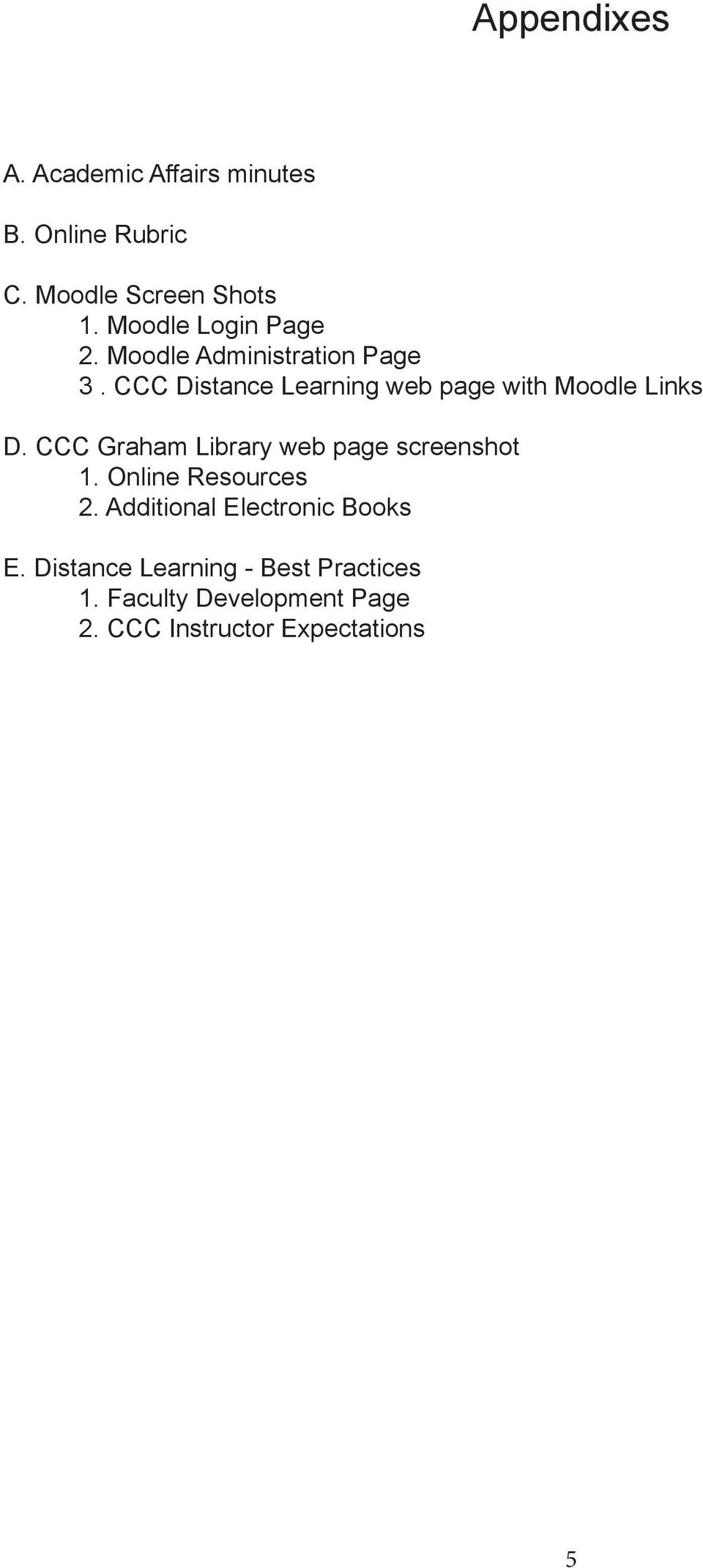 CCC Distance Learning web page with Moodle Links D. CCC Graham Library web page screenshot 1.