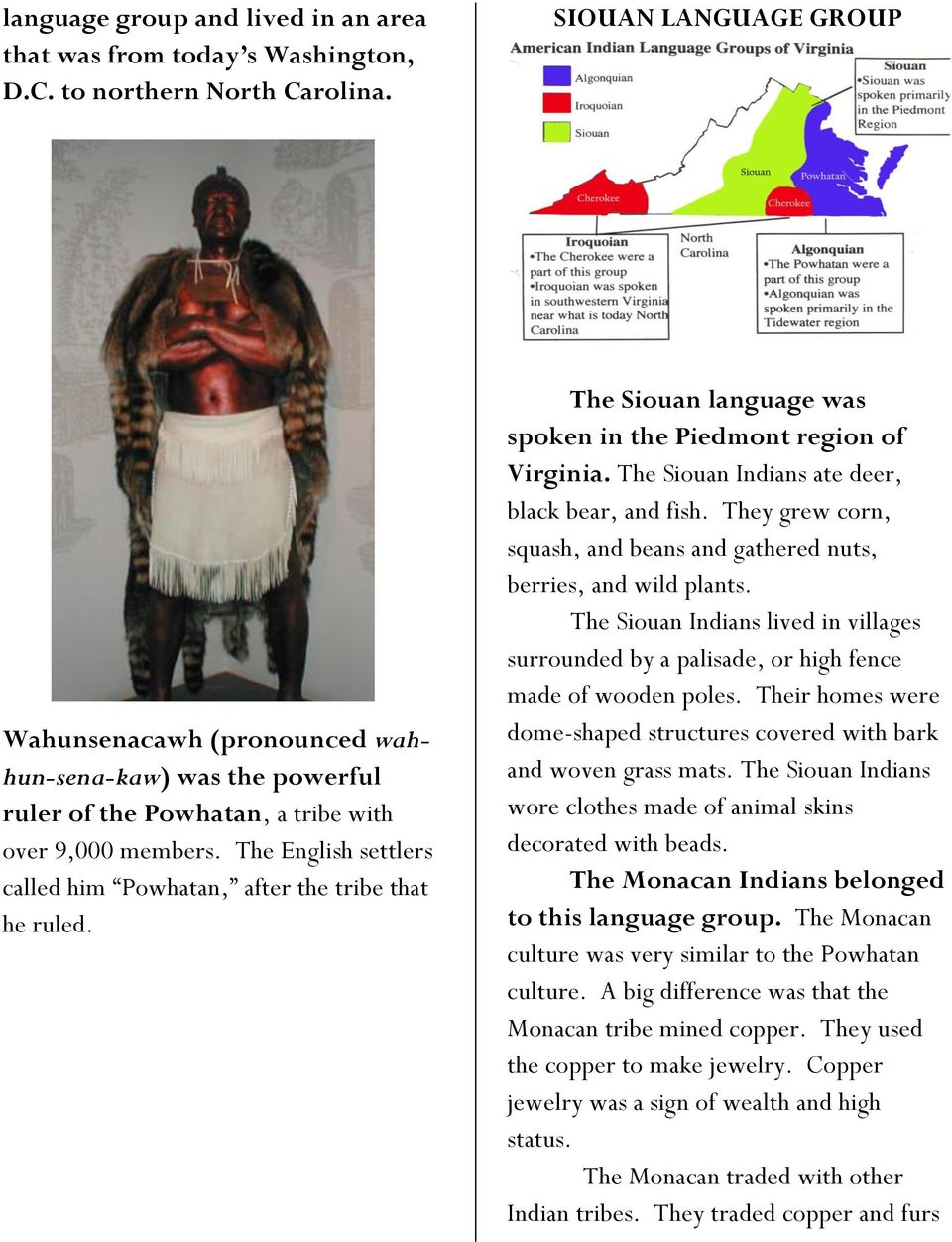 The English settlers called him Powhatan, after the tribe that he ruled. The Siouan language was spoken in the Piedmont region of Virginia. The Siouan Indians ate deer, black bear, and fish.