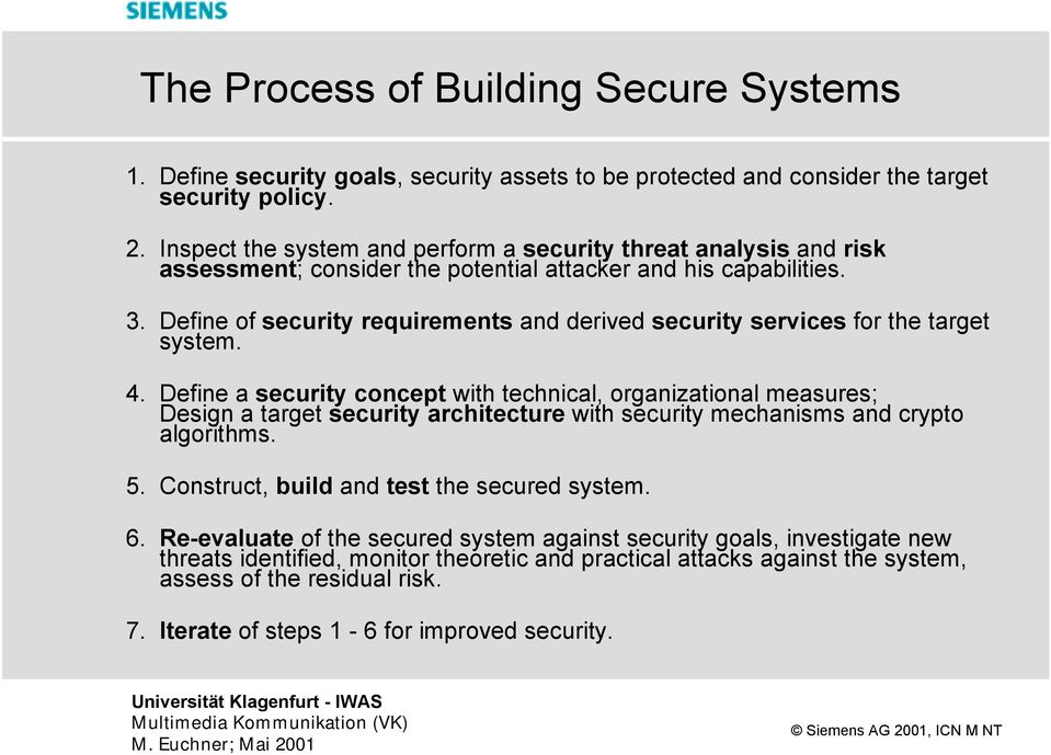 Define of security requirements and derived security services for the target system. 4.