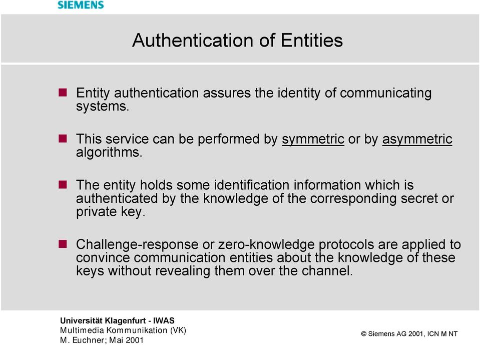 The entity holds some identification information which is authenticated by the knowledge of the corresponding secret