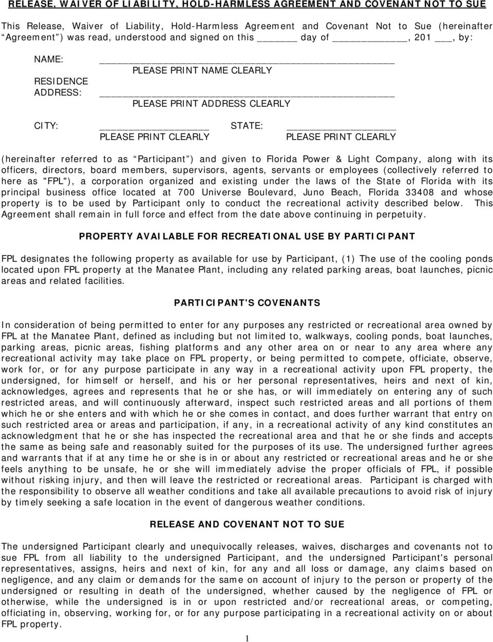Release Waiver Of Liability Hold Harmless Agreement And Covenant