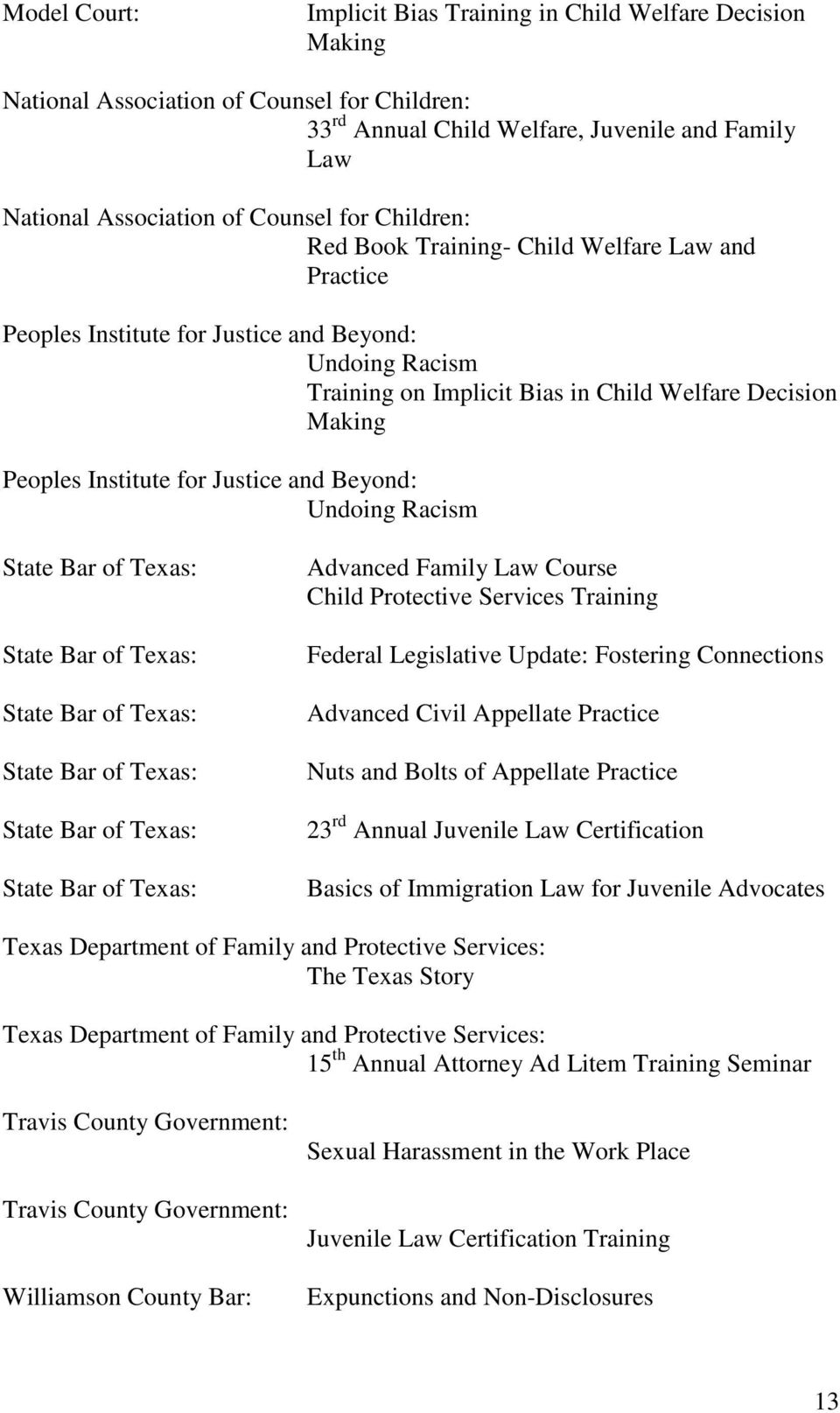 Bar of Texas: State Bar of Texas: State Bar of Texas: State Bar of Texas: Advanced Family Law Course Child Protective Services Training Federal Legislative Update: Fostering Connections Advanced