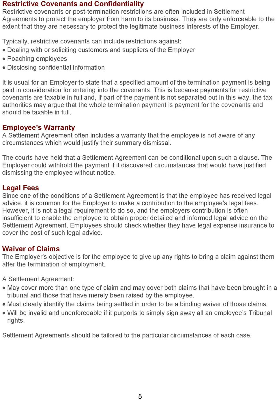 A Guide To Settlement Agreements Pdf