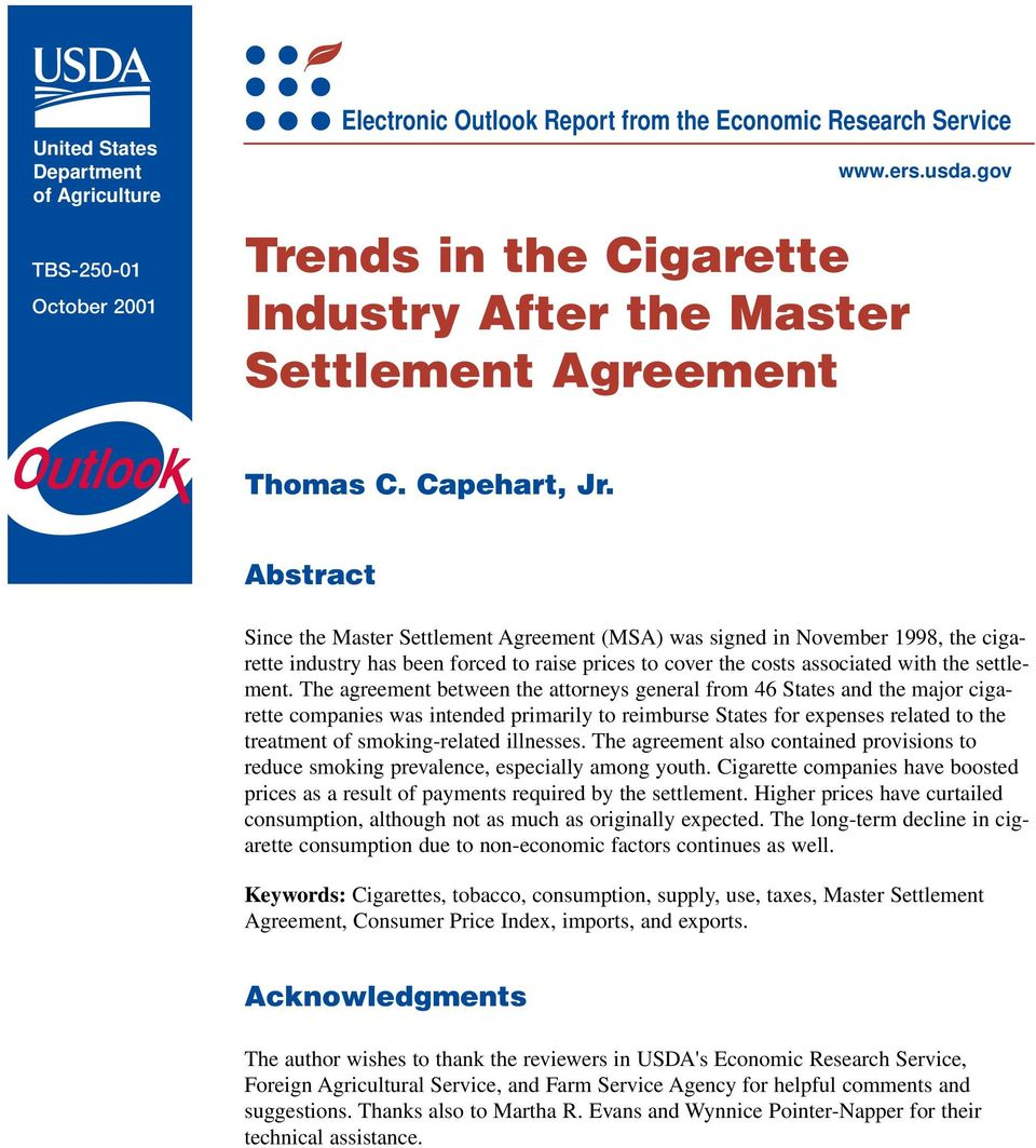 Trends In The Cigarette Industry After The Master Settlement