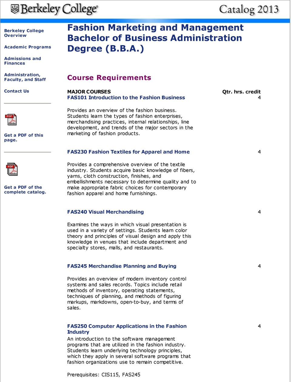 Fashion Marketing And Management Bachelor Of Business Administration Degree B B A Pdf Free Download
