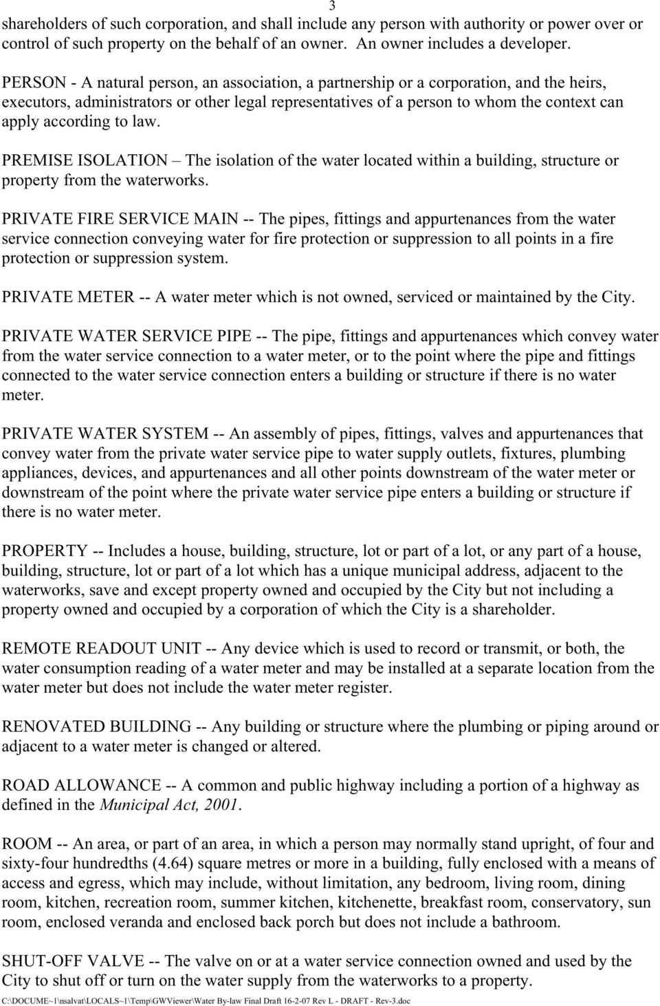 Proposed New City of Toronto Water Supply By-law CONTENTS