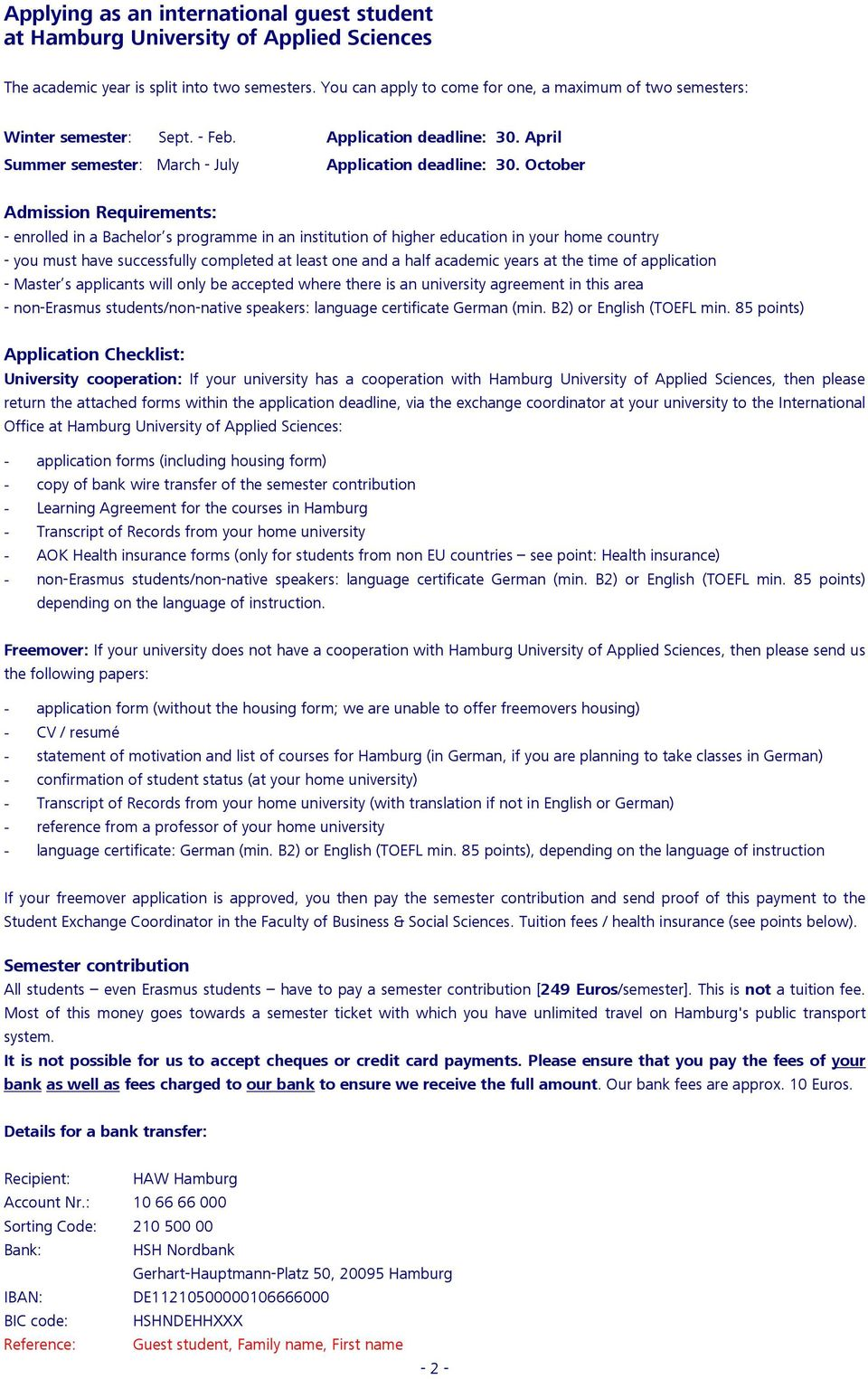 International Guest Students APPLICATION FORM - PDF