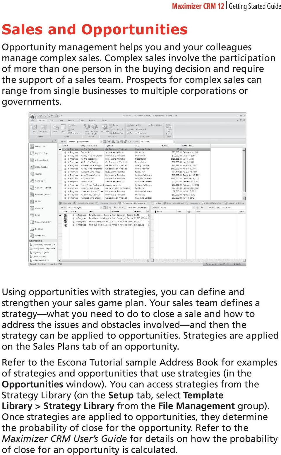 Prospects for complex sales can range from single businesses to multiple corporations or governments. Using opportunities with strategies, you can define and strengthen your sales game plan.