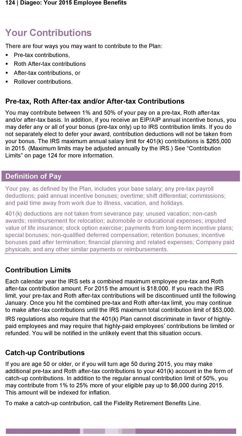 401(k) Plan IN THIS SECTION SEE PAGE  Diageo: Your 2015