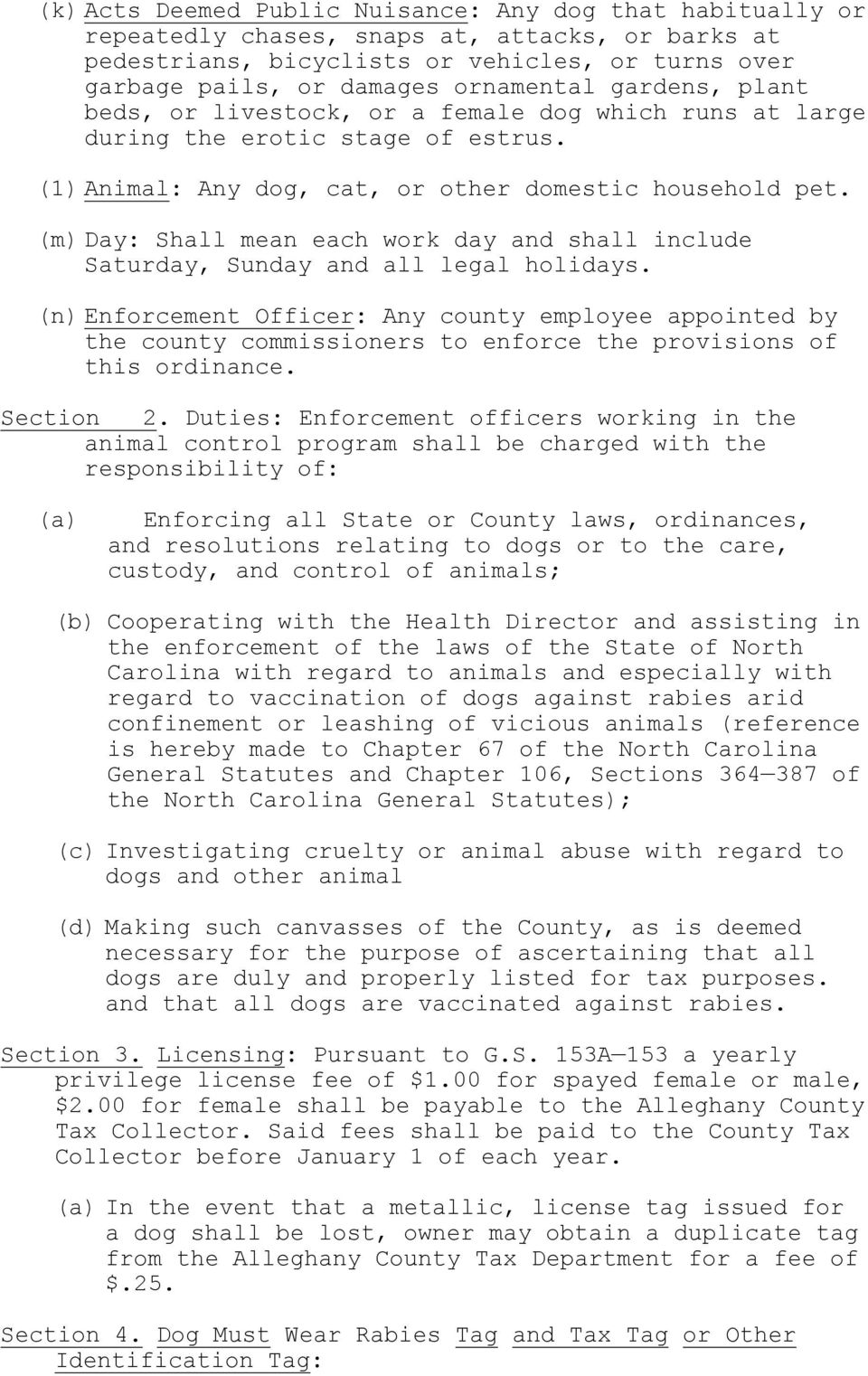 ALLECHANY COUNTY ANIMAL CONTROL ORDINANCE  Section 1