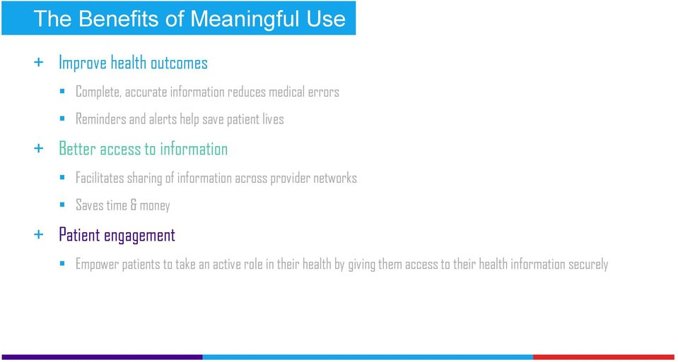 Facilitates sharing of information across provider networks Saves time & money + Patient engagement