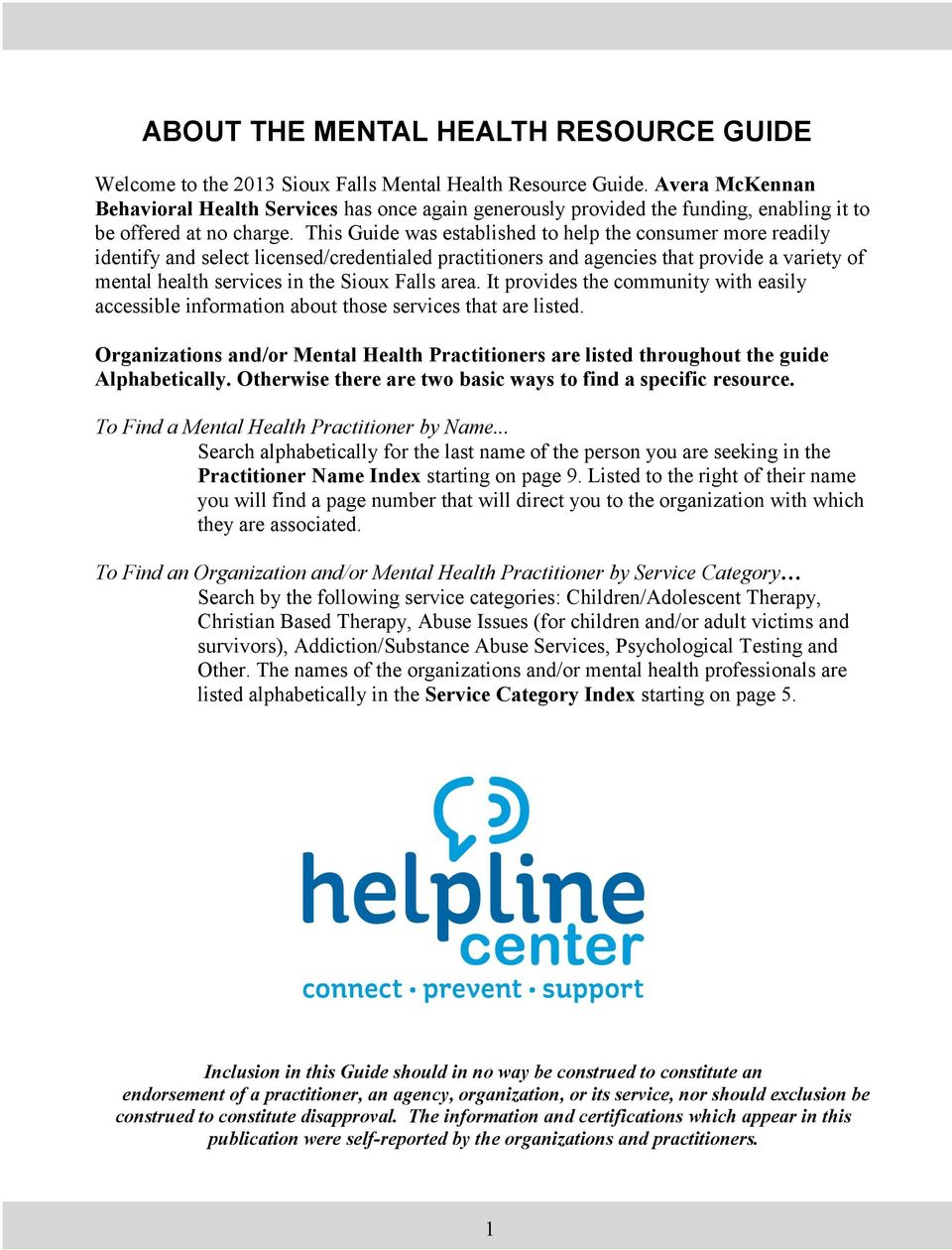 About The Mental Health Resource Guide Pdf