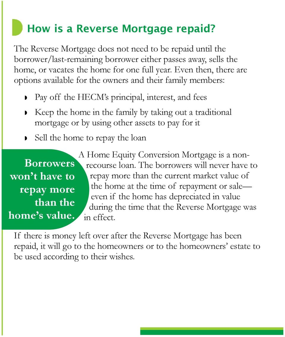 using other assets to pay for it Sell the home to repay the loan Borrowers won t have to repay more than the home s value. A Home Equity Conversion Mortgage is a nonrecourse loan.
