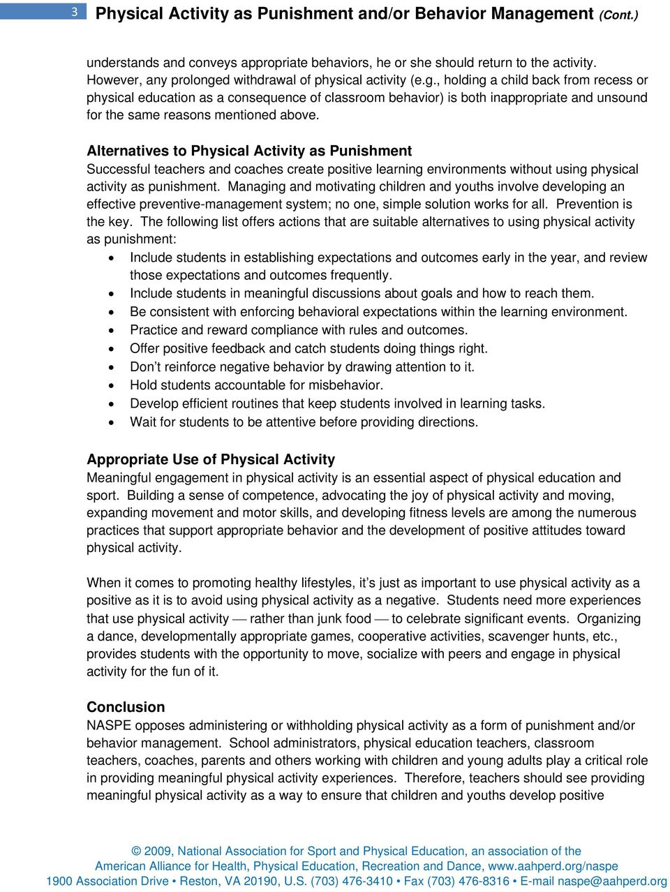 Physical Activity Used as Punishment and/or Behavior
