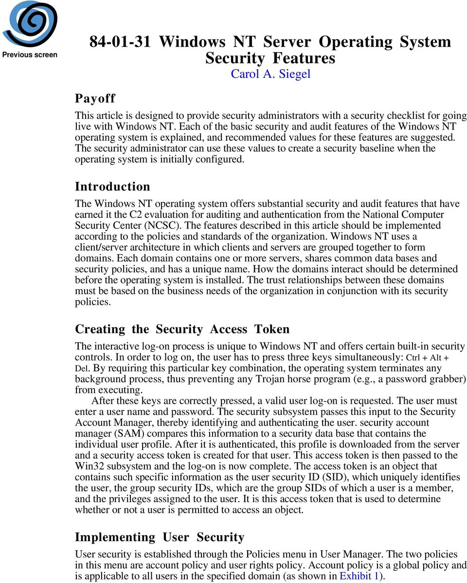 Windows NT Server Operating System Security Features Carol A