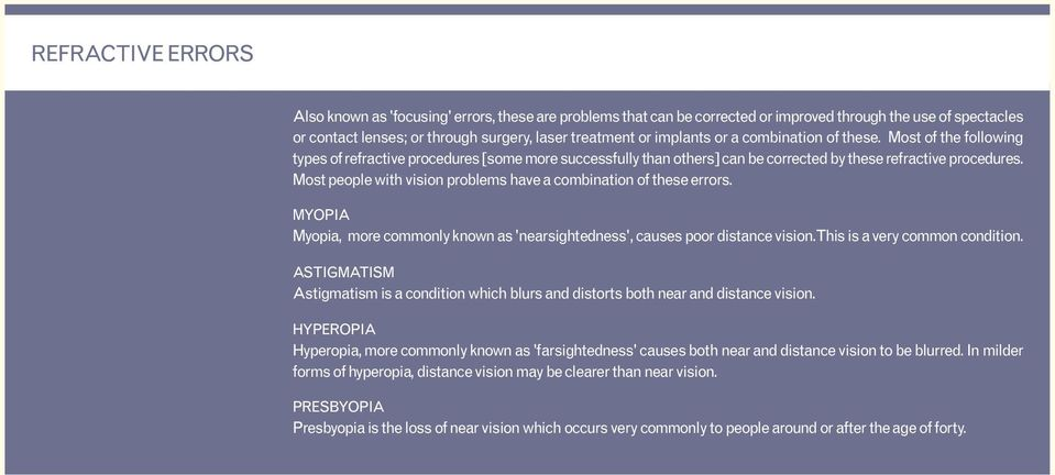 Most people with vision problems have a combination of these errors. MYOPIA Myopia, more commonly known as 'nearsightedness', causes poor distance vision. This is a very common condition.