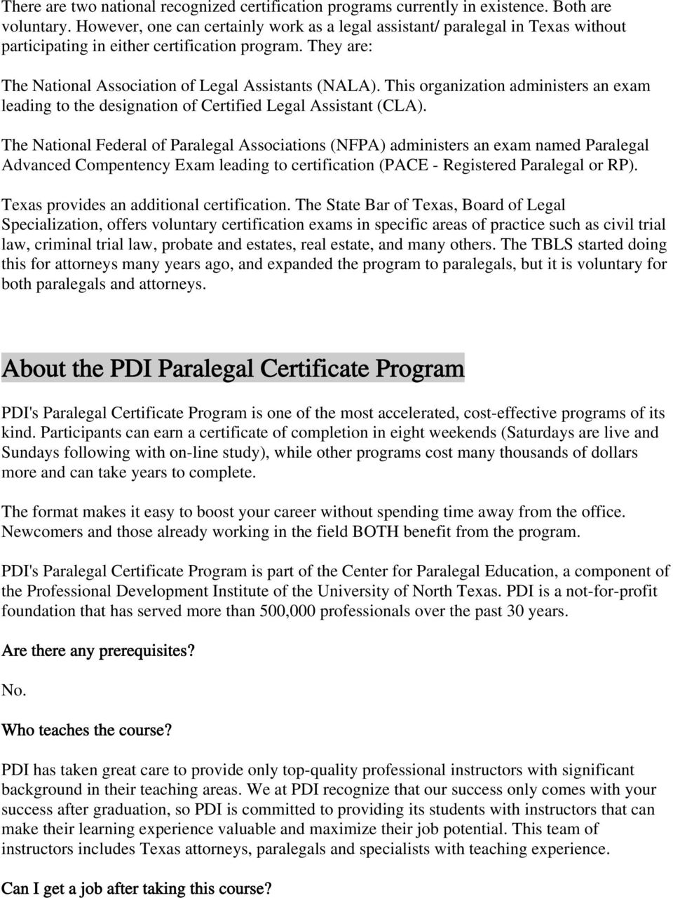 Commonly Asked Questions About The Paralegal Certificate Program Pdf