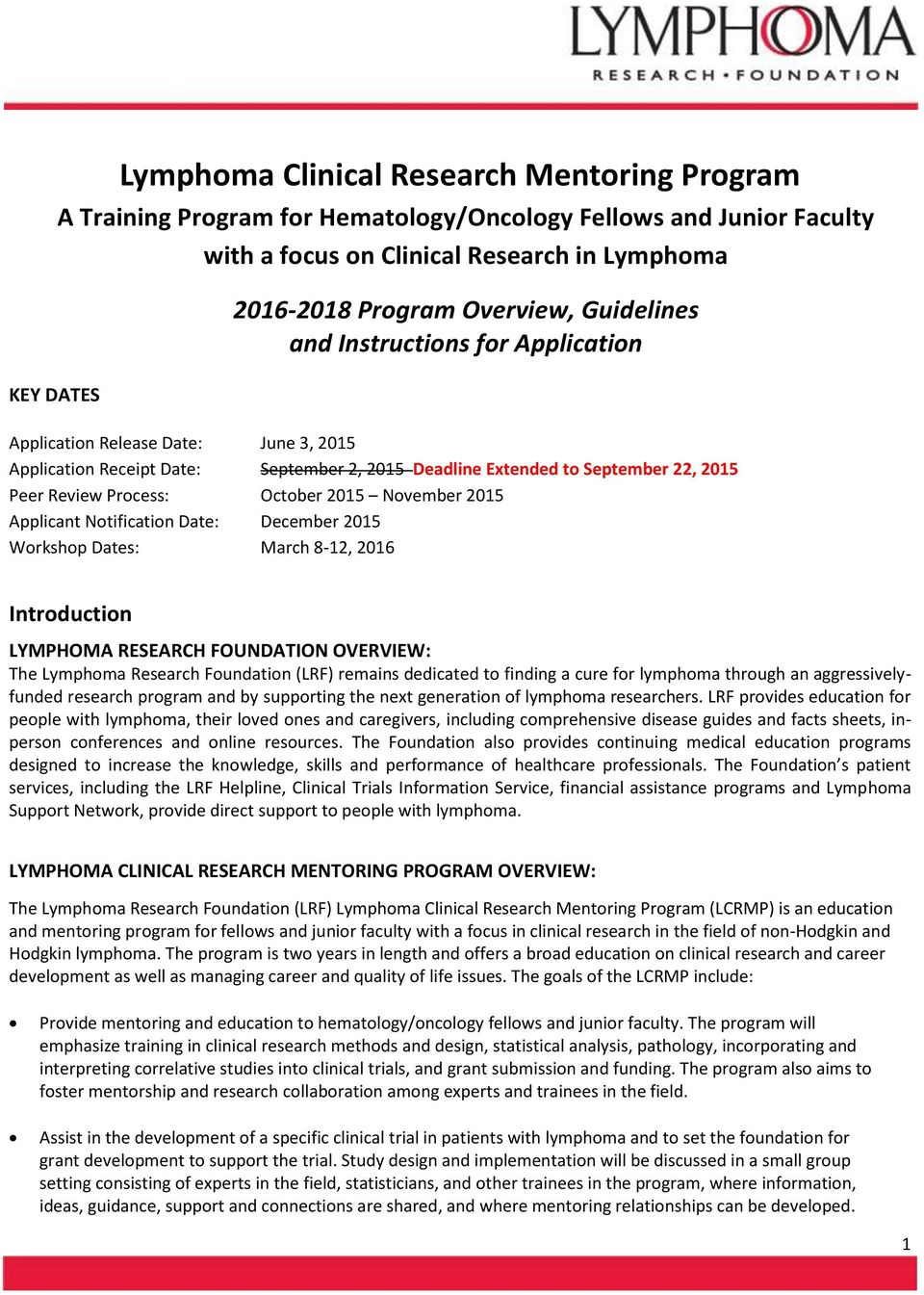 Lymphoma Clinical Research Mentoring Program - PDF