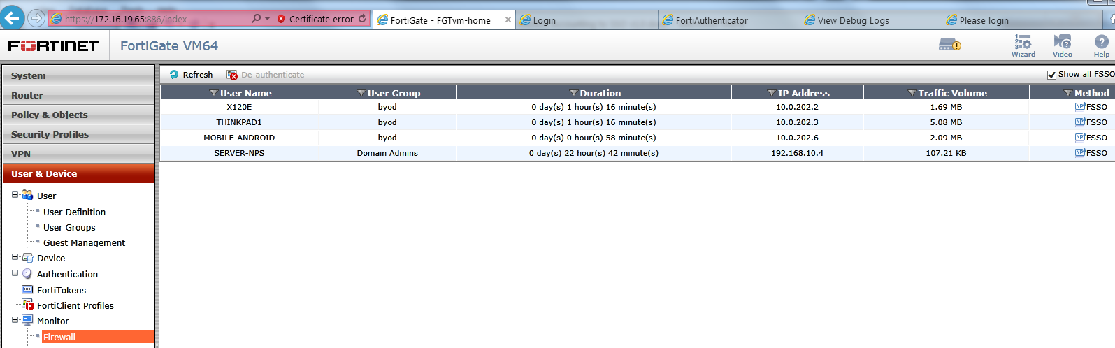 FortiAuthenticator RADIUS Accounting with SSO for FortiOS