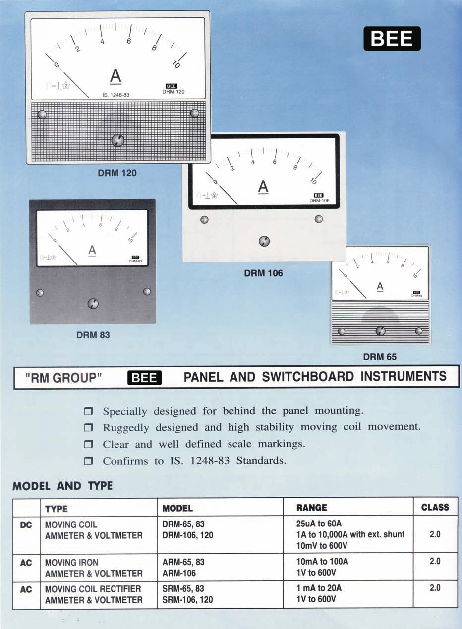 Bee Instruments Meters Shunts Division Pdf The Distance Between Connection Of Discharge Side Ammeter Rm Group Drm 120 106 83 65 Panel And Switchboard