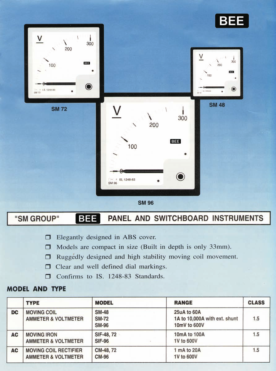 Bee Instruments Meters Shunts Division Pdf The Distance Between Connection Of Discharge Side Ammeter Sm Group 48 72 96 Panel And Switchboard Elegantly