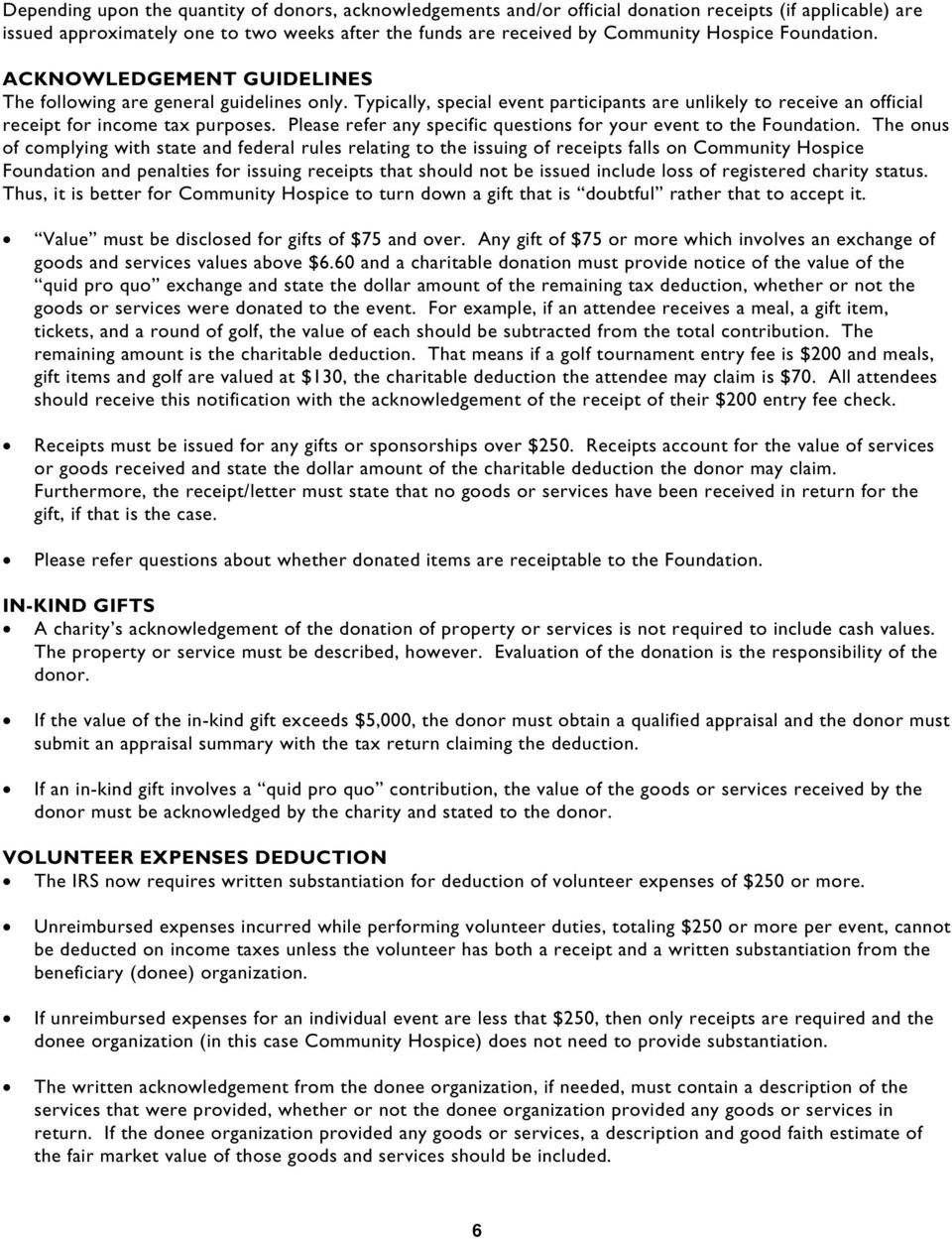 GUIDELINES FOR FUNDRAISING SPECIAL EVENTS - PDF