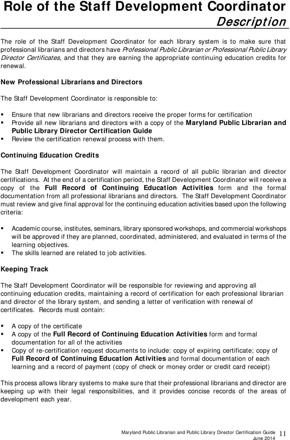 Maryland Public Librarian And Public Library Director Certification
