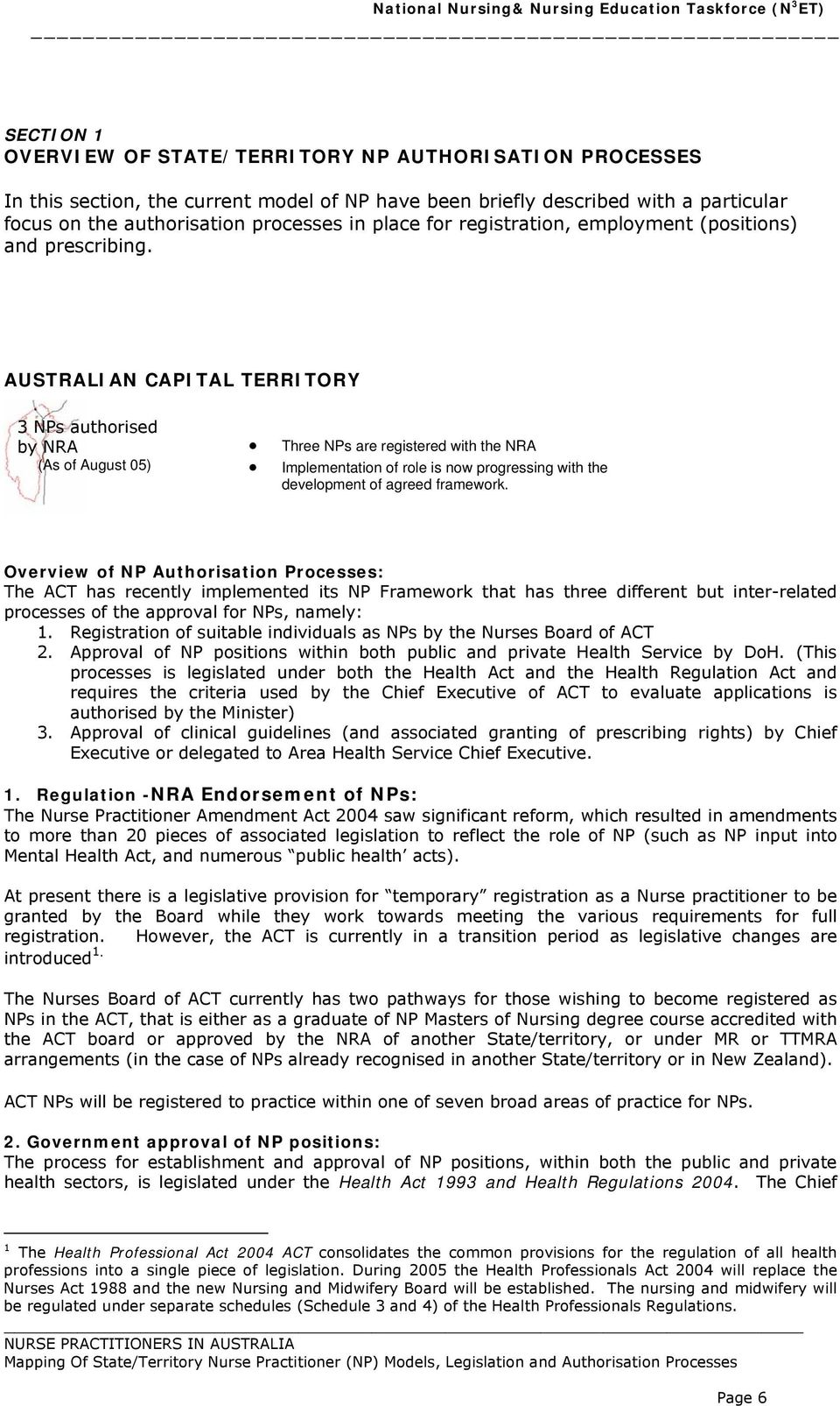 AUSTRALIAN CAPITAL TERRITORY 3 NPs authorised by NRA (As of August 05) Three NPs are registered with the NRA Implementation of role is now progressing with the development of agreed framework.