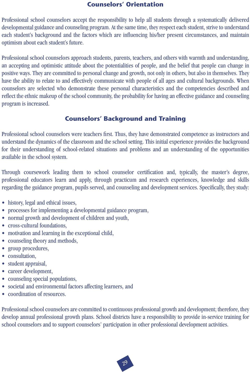 Section Iii The Responsibilities Of School Counselors And Other