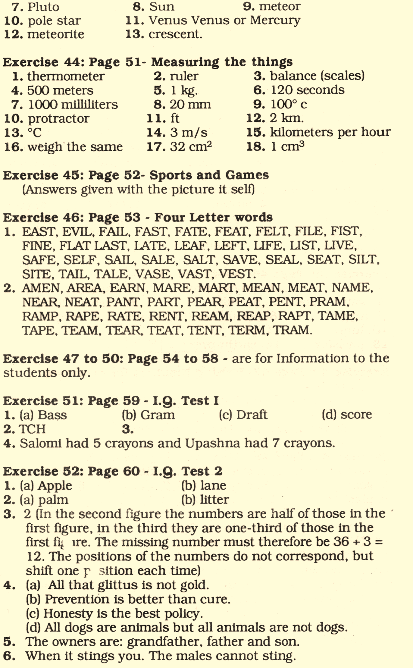 ANSWER KEY TO EKTA GENERAL KNOWLEDGE AND I Q  TESTS (BOOK 6