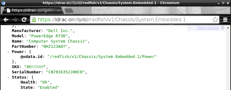 Implementation of the DMTF Redfish API on Dell PowerEdge