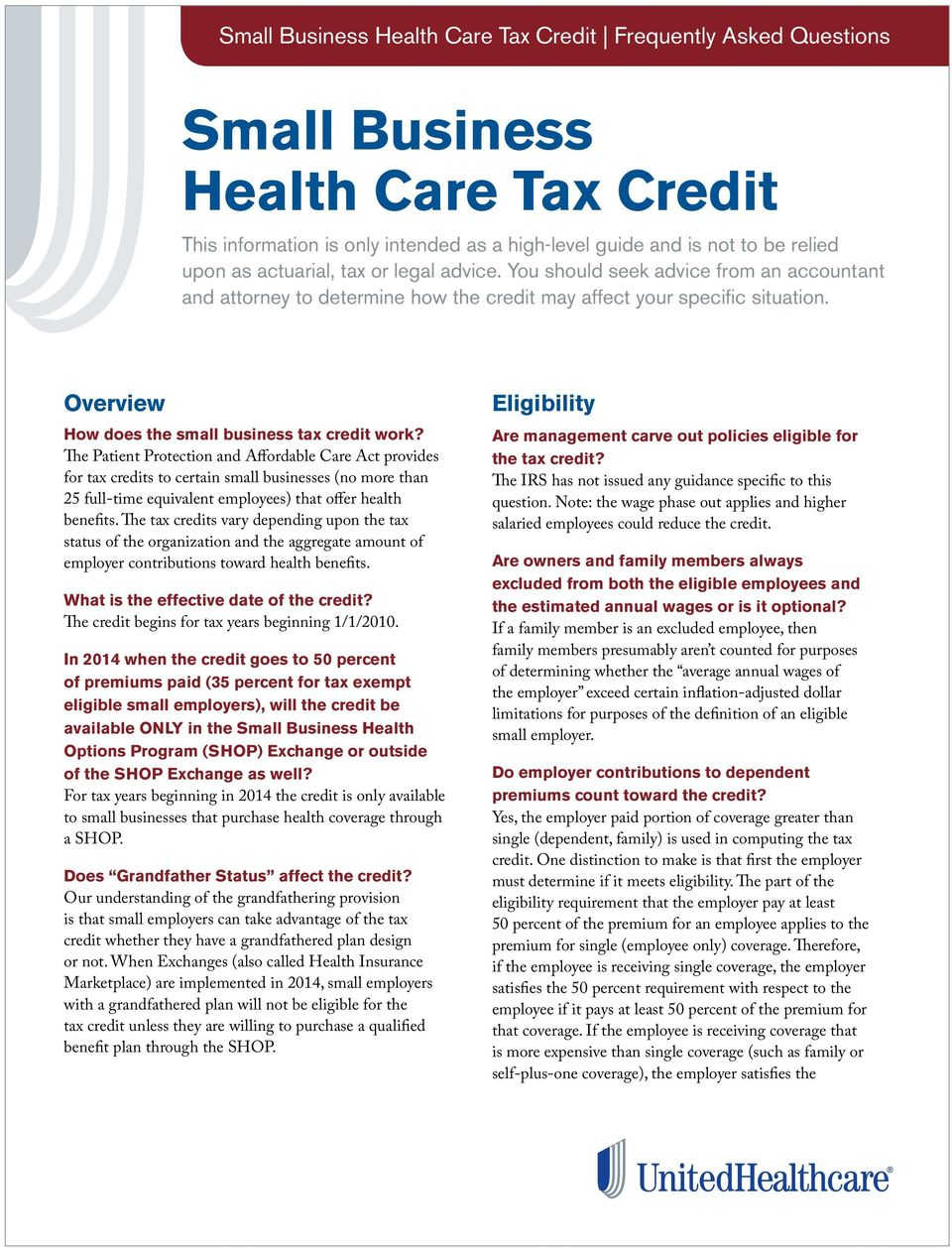 Overview How does the small business tax credit work?