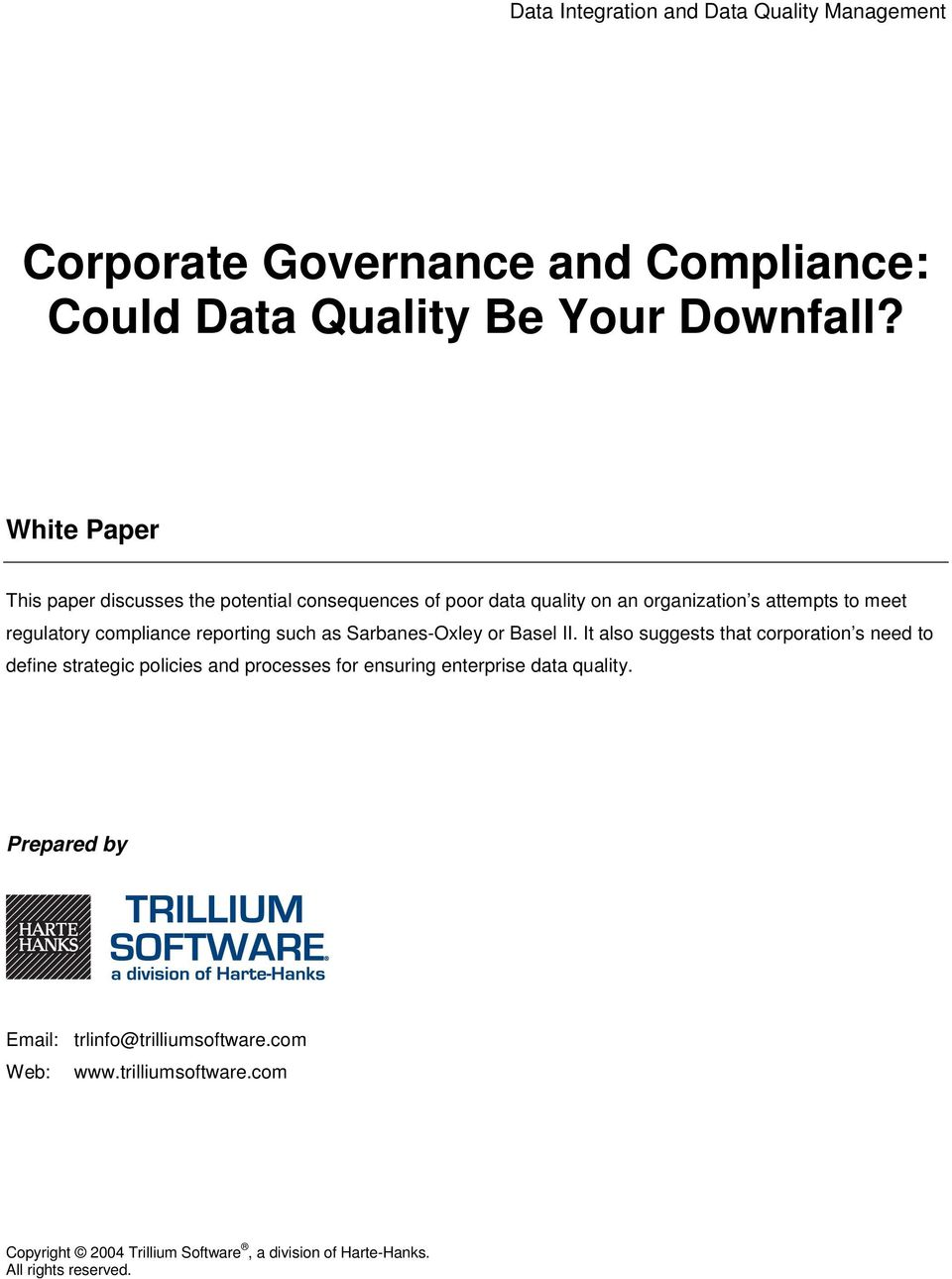 Corporate Governance And Compliance Could Data Quality Be Your