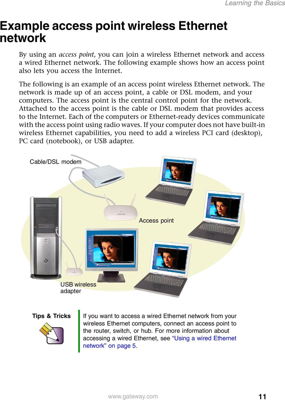 Contents Section A Networking Basics Learning The B Ethernet Connect Wifi Access Point Or Any Device To My Network Is Made Up Of An Cable Dsl Modem