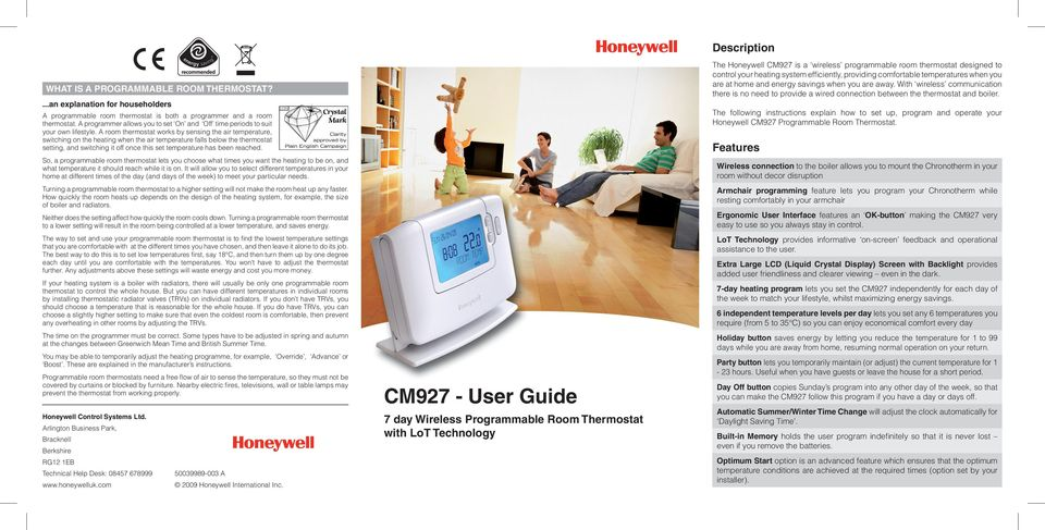 Cm927 User Guide Description Features 7 Day Wireless