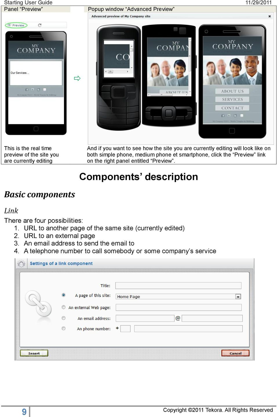 entitled Preview. Components description Basic components Link There are four possibilities: 1.