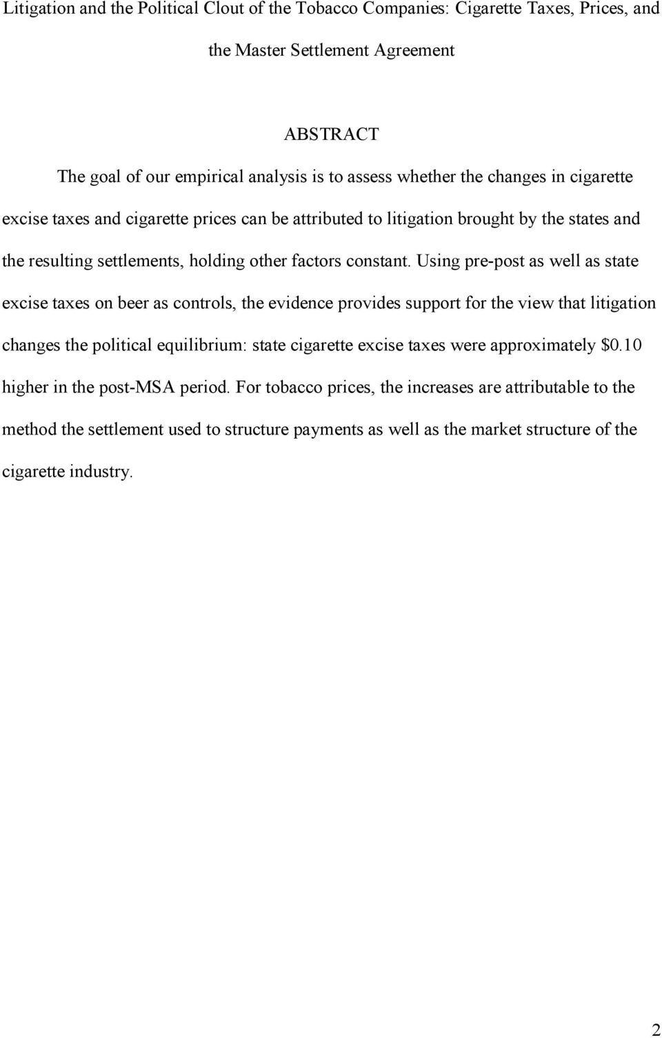 Litigation And The Political Clout Of The Tobacco Companies