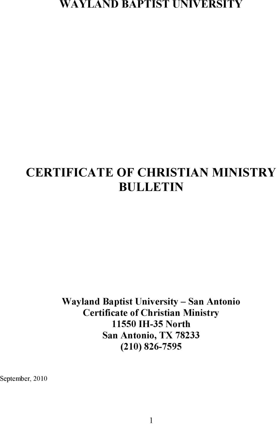 Antonio Certificate of Christian Ministry 11550 IH-35