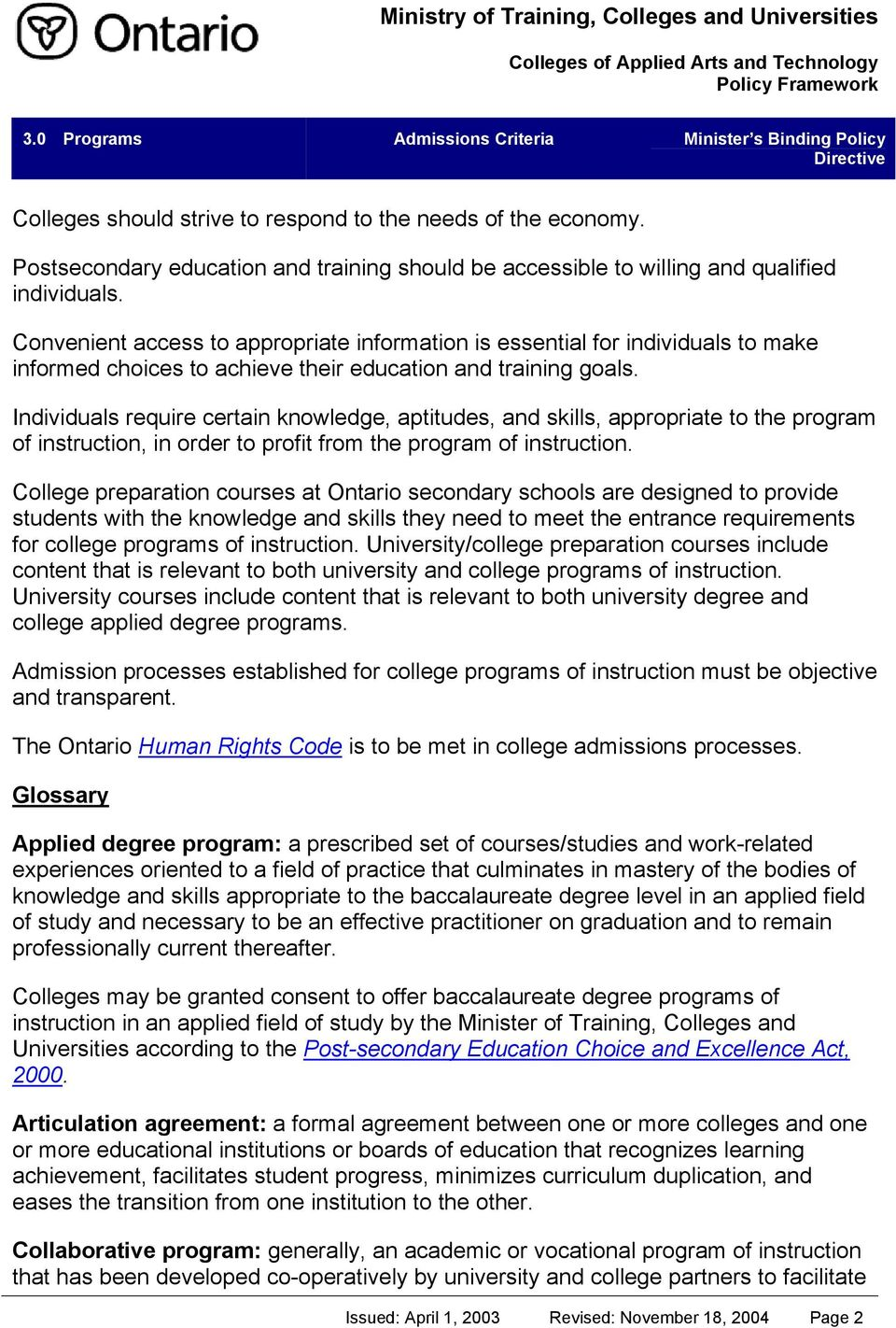Admissions Criteria Ministry Of Training Colleges And Universities Colleges Of Applied Arts And Technology Policy Framework Pdf Free Download