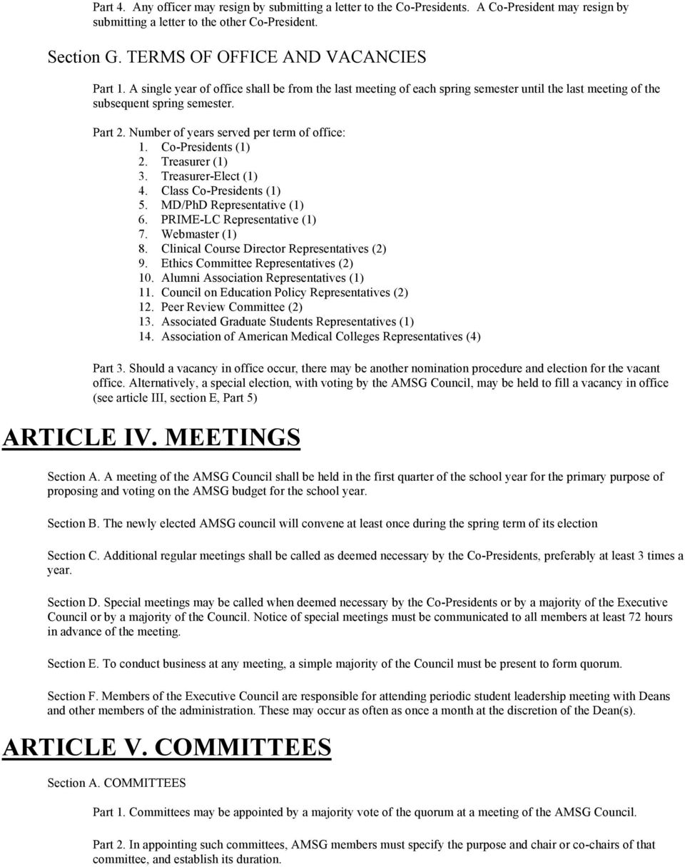 Constitution of the Associated Medical Student Government
