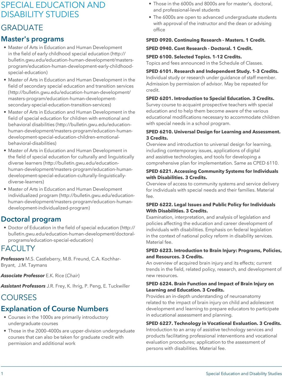 education and transition services (http://bulletin.gwu.