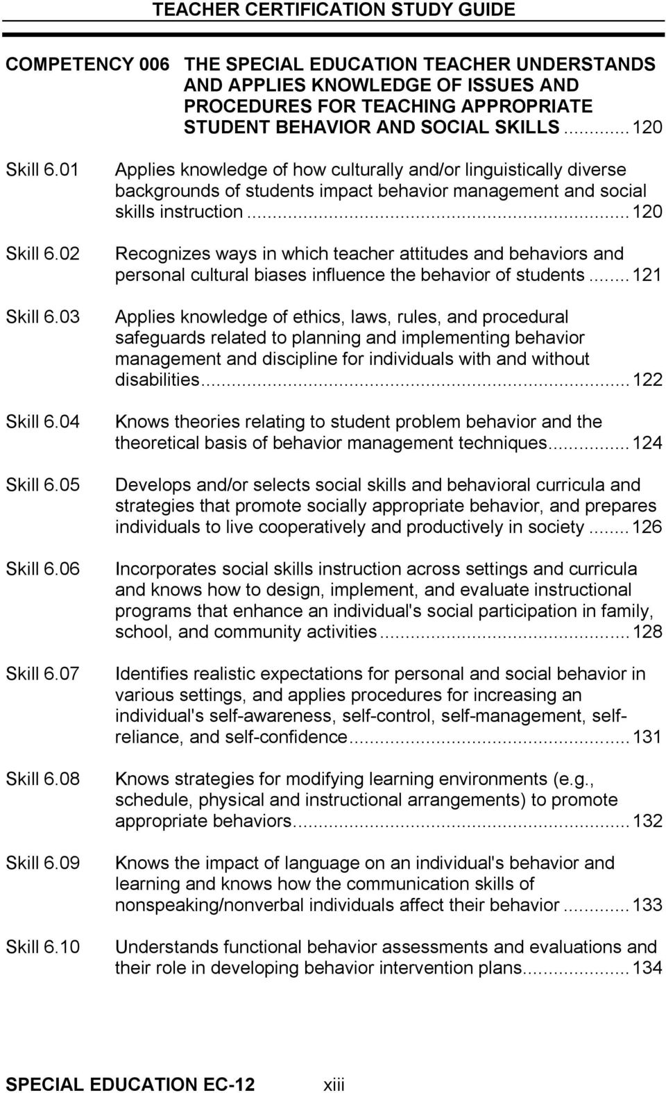 10 Applies knowledge of how culturally and/or linguistically diverse backgrounds of students impact behavior management and social skills instruction.