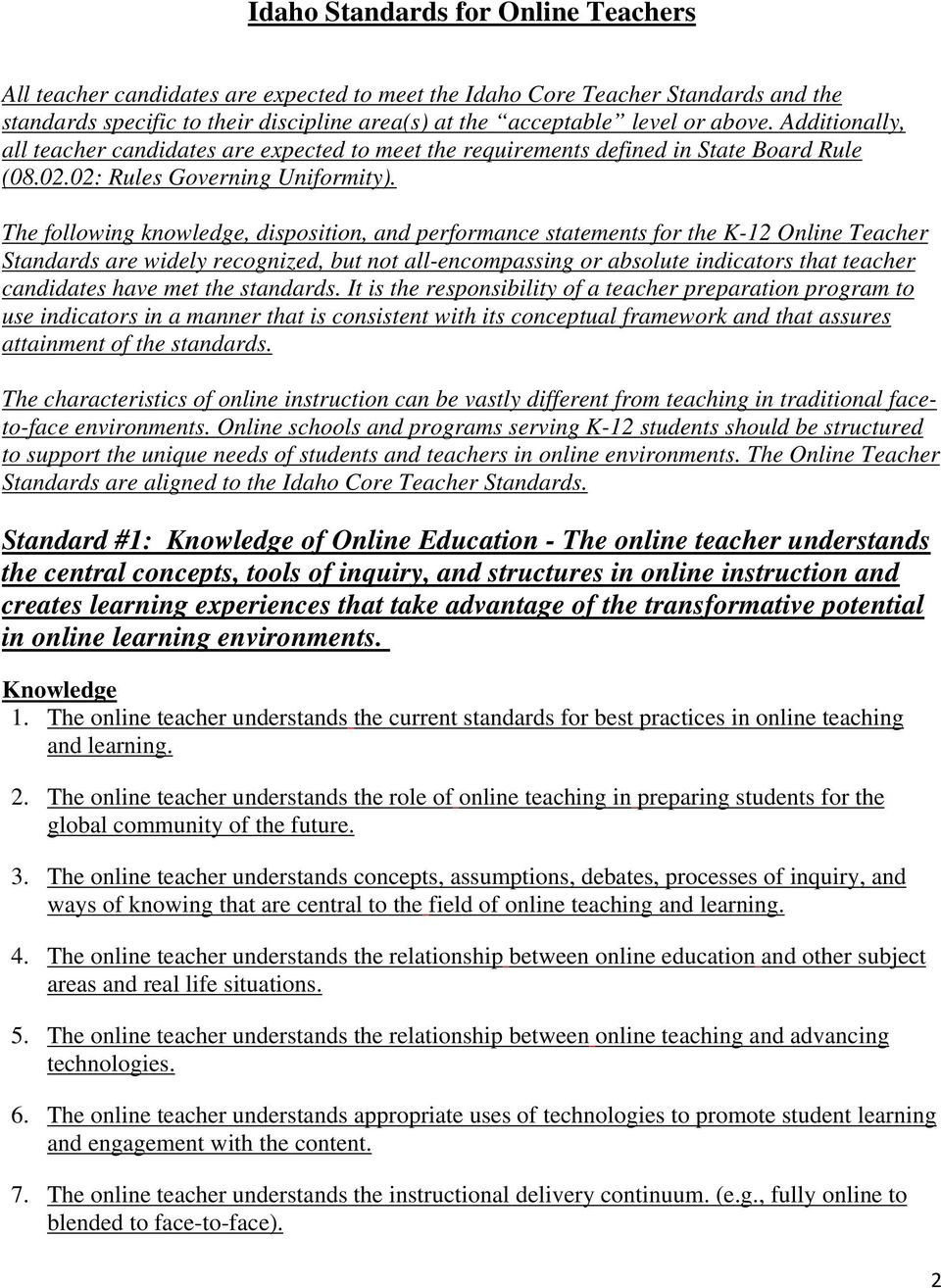 The following knowledge, disposition, and performance statements for the K-12 Online Teacher Standards are widely recognized, but not all-encompassing or absolute indicators that teacher candidates