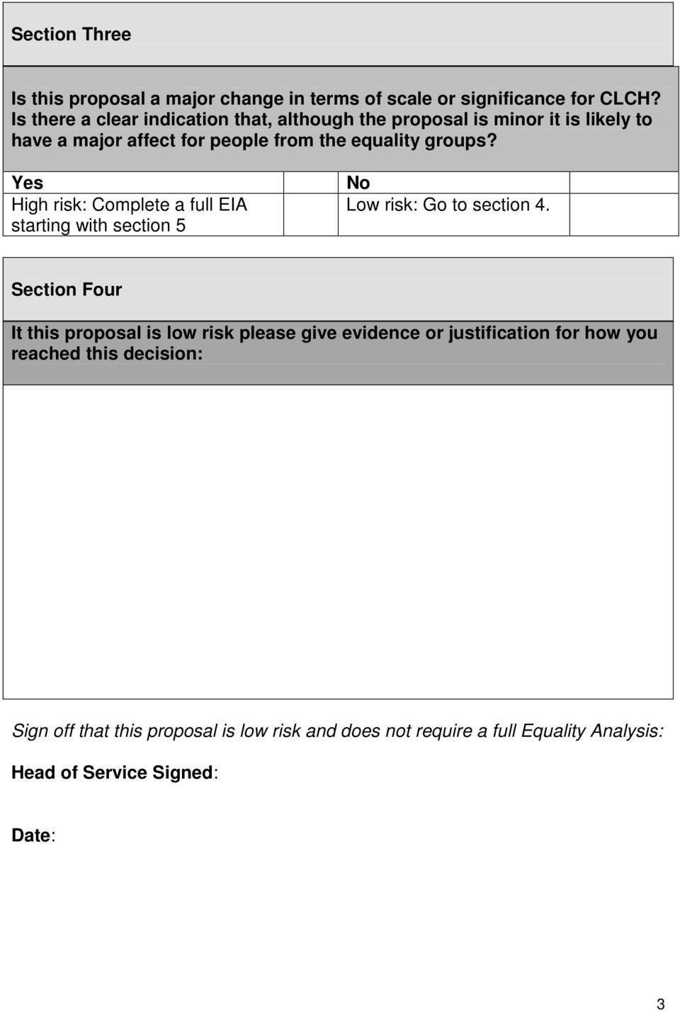 Yes High risk: Complete a full EIA starting with section 5 No Low risk: Go to section 4.