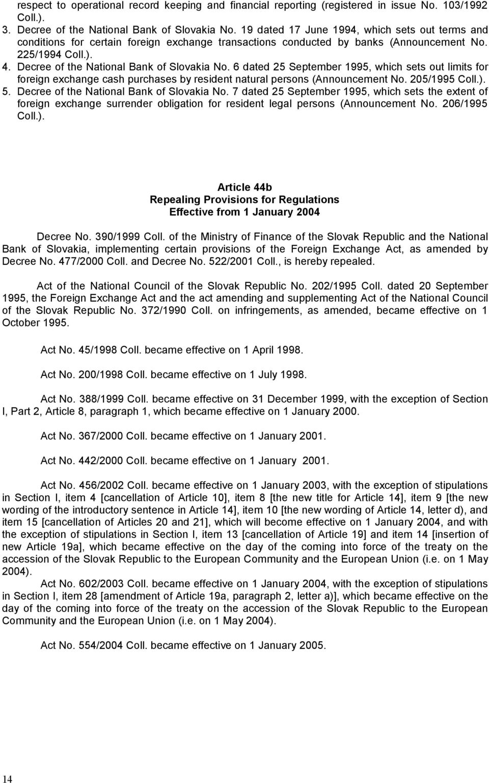 Decree of the National Bank of Slovakia No. 6 dated 25 September 1995, which sets out limits for foreign exchange cash purchases by resident natural persons (Announcement No. 205/1995 Coll.). 5.